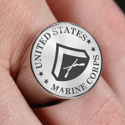 USMC E-3 Lance Corporal E3 LCpl Junior Enlisted - 18K Gold Finish - Stainless Steel Signet Ring