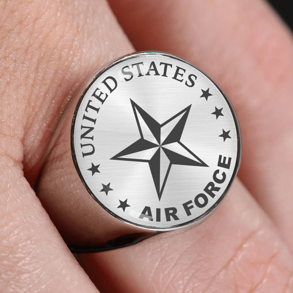 US Air Force O-7 Brigadier General Brig O7 General Officer 18K Gold Finish - Stainless Steel Signet Ring