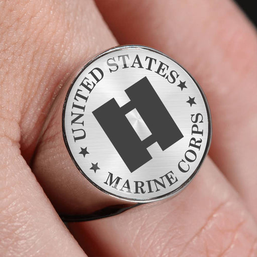 USMC O-3 Captain O3 Capt USMC O3 Commissioned Officer - 18K Gold Finish - Stainless Steel Signet Ring