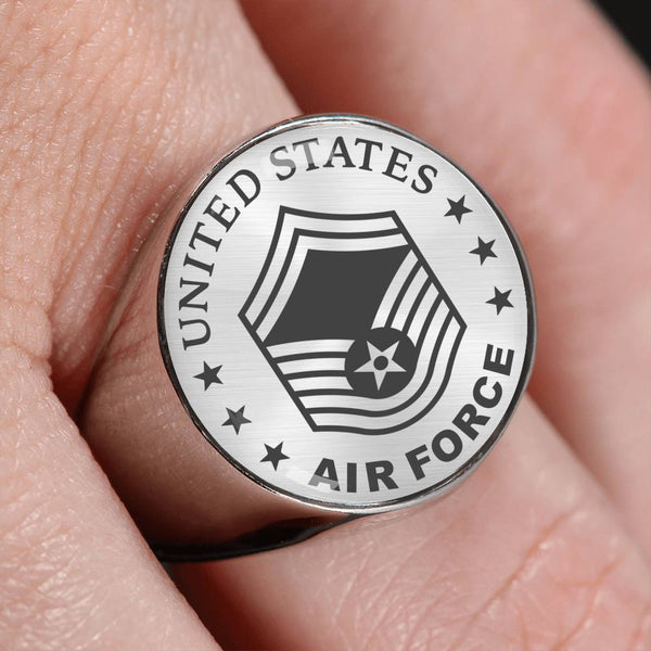 US Air Force E-8 Senior Master Sergeant SMSgt E8 Noncommissioned Officer 18K Gold Finish - Stainless Steel Signet Ring