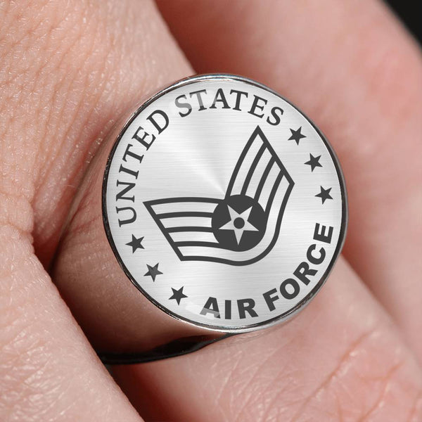 US Air Force E-5 Staff Sergeant SSgt E5 Noncommissioned Officer 18K Gold Finish - Stainless Steel Signet Ring