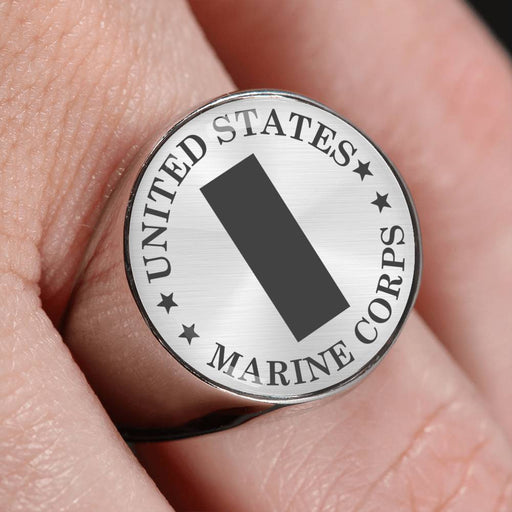 USMC O-2 First Lieutenant O2 1stLt USMC O2 Commissioned Officer - 18K Gold Finish - Stainless Steel Signet Ring