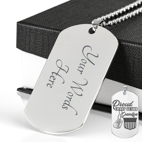 Proud USCG Grandpa - Personalized Engraved Dog Tag Stainless
