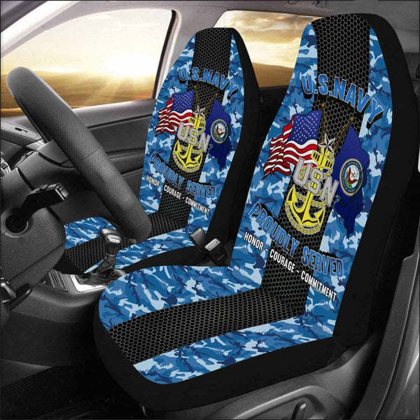 US Navy E-8 Senior Chief Petty Officer E8 SCPO Senior Noncommissioned Officer Collar Device Car Seat Covers (Set of 2)