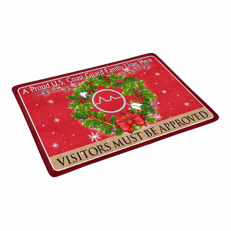US Coast Guard Operations Specialist OS Logo - Visitors must be approved Christmas Doormat