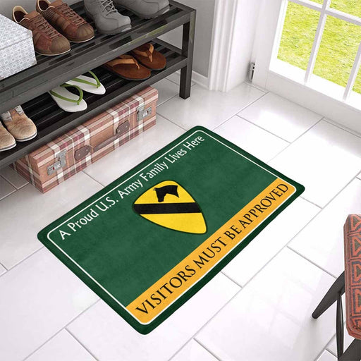 US Army Army 1st Cavalry Division Family Doormat - Visitors must be approved Doormat (23.6 inches x 15.7 inches)