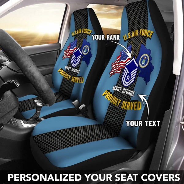 U.S Air Force Ranks - Personalized Car Seat Covers (Set of 2)