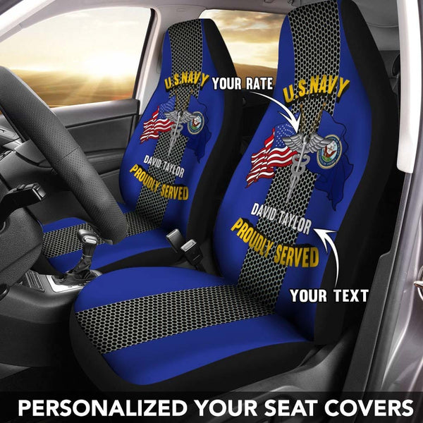 US Navy Rate - Personalized Car Seat Covers (Set of 2)