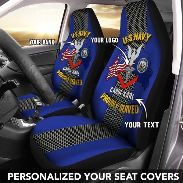 US Navy Rating Badge - Personalized Car Seat Covers (Set of 2)