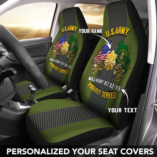 U.S Army Rank - Personalized Car Seat Covers (Set of 2)
