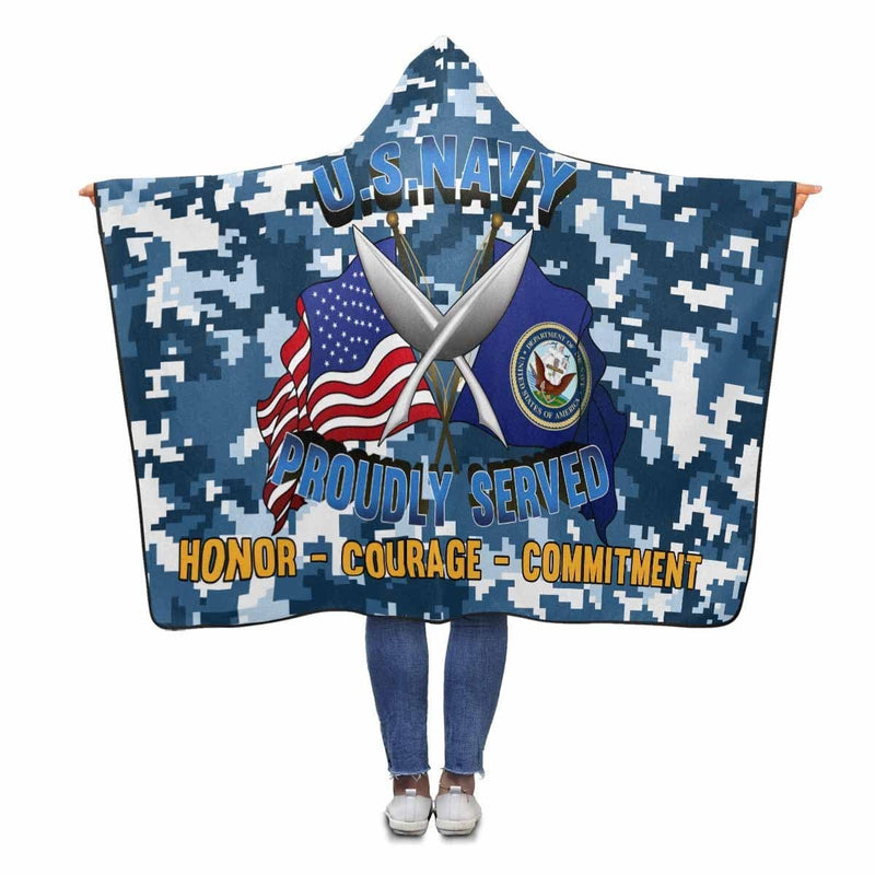 U.S Navy Yeoman Navy YN Proudly Served Hooded Blanket