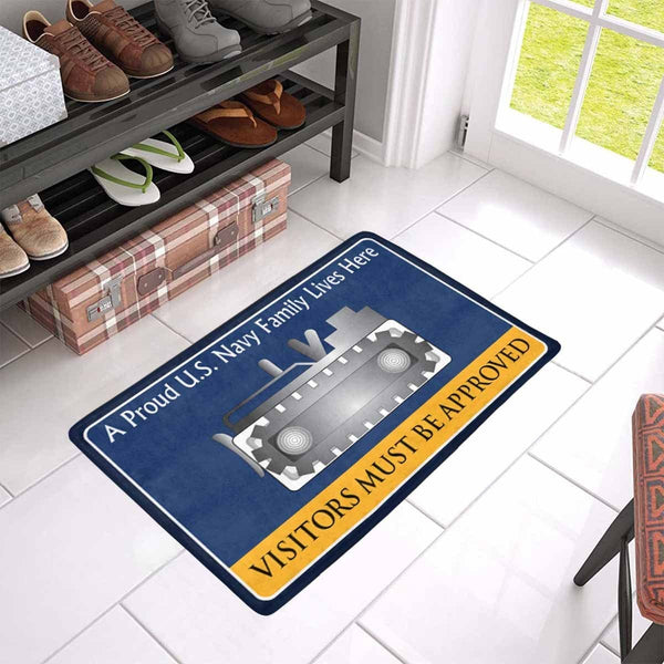 Navy Equipment Operator Navy EO Family Doormat - Visitors must be approved (23,6 inches x 15,7 inches)