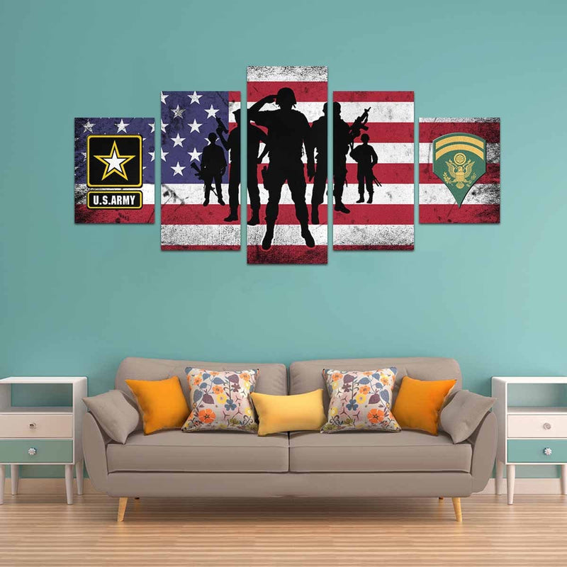 US Army E-6 SPC E6 SP6 Specialist 6 Specialist 1st Class  Canvas Art Prints Set Z (5 Pieces) (Made In USA)