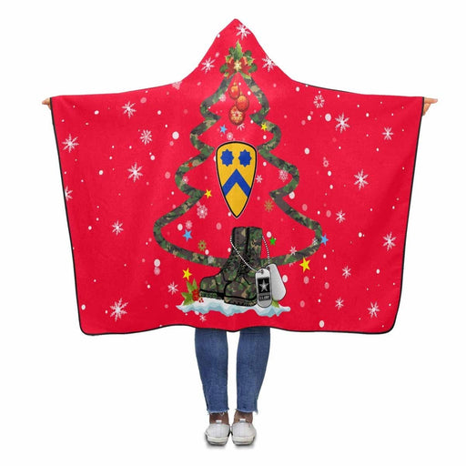 US Army 2nd Cavalry Division - Christmas Hooded Blanket