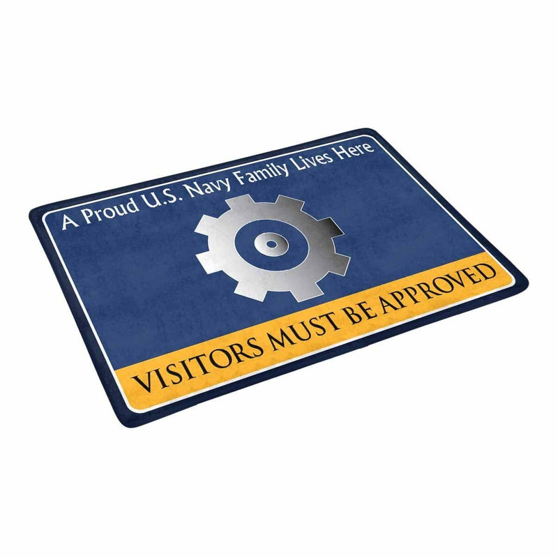 U.S Navy Engineman Navy EN Family Doormat - Visitors must be approved (23,6 inches x 15,7 inches)