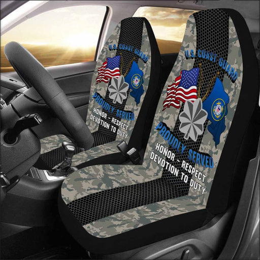 US Coast Guard O-5 Commander O5 CDR Senior Officer Car Seat Covers (Set of 2)
