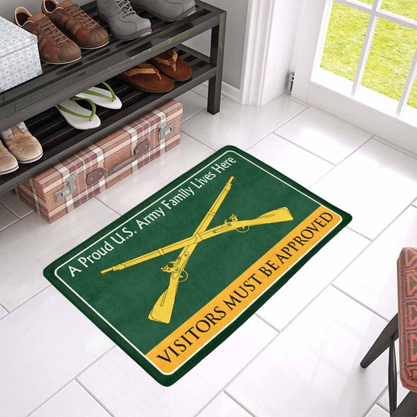 U.S. Army Infantry Family Doormat - Visitors must be approved Doormat (23.6 inches x 15.7 inches)
