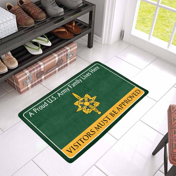 US Army Military Intelligence Branch Family Doormat - Visitors must be approved Doormat (23.6 inches x 15.7 inches)