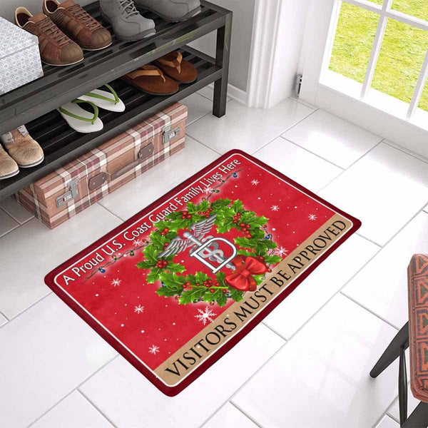 US Coast Guard Dental Technician DT Logo - Visitors must be approved Christmas Doormat