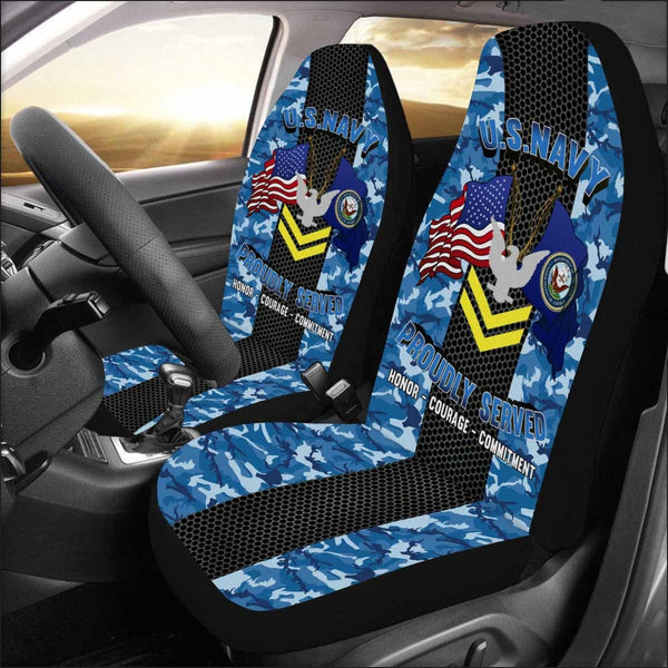 US Navy E-5 Petty Officer Second Class E5 PO2 Gold Stripe Collar Device Car Seat Covers (Set of 2)