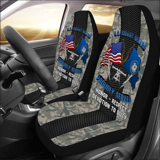 US Coast Guard Fire Control Technician FT Logo Proudly Served - Car Seat Covers (Set of 2)