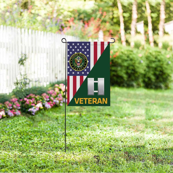 US Army O-3 Captain O3 CPT Commissioned Officer Veteran Garden Flag/Yard Flag 12 inches x 18 inches Twin-Side Printing