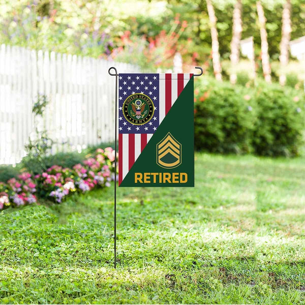 US Army E-6 Staff Sergeant E6 SSG Noncommissioned Officer Retired Garden Flag/Yard Flag 12 inches x 18 inches Twin-Side Printing