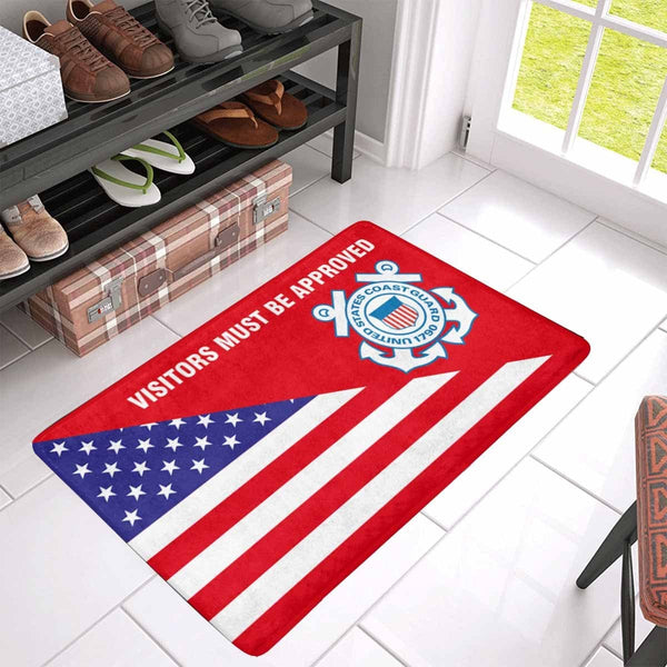 US Flag and US Coast Guard Logo - Visitors Must Be Approved Doormat
