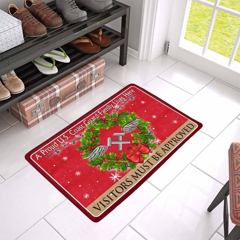 US Coast Guard Aviation Metalsmith AM Logo - Visitors must be approved Christmas Doormat