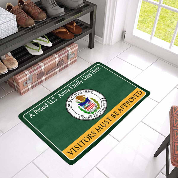 US Army Corps of Engineers Family Doormat - Visitors must be approved Doormat (23.6 inches x 15.7 inches)