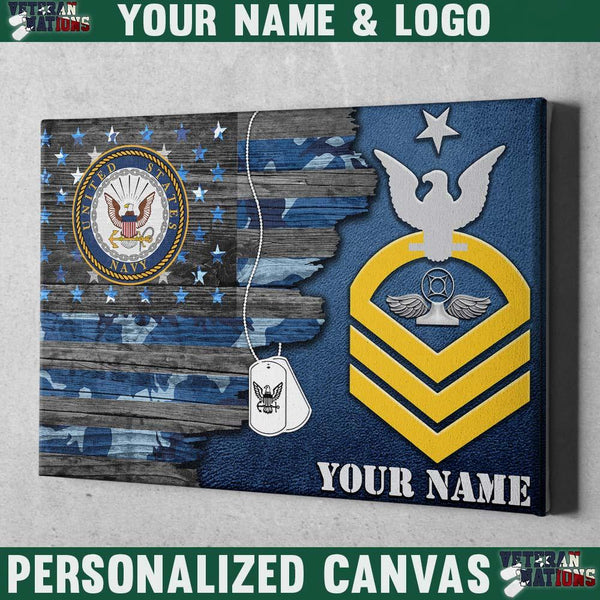 Personalized Canvas - U.S. Navy E-8 SCPO Rating Badge - Personalized Name & Logo