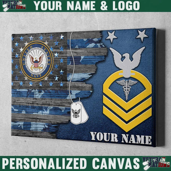 Personalized Canvas - U.S. Navy E-9 MCPO Rating Badge - Personalized Name & Logo