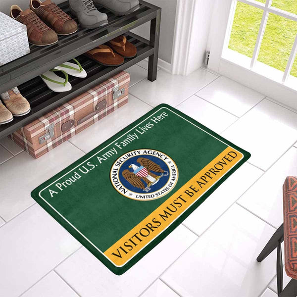 U.S National Security Agency Family Doormat - Visitors must be approved Doormat (23.6 inches x 15.7 inches)