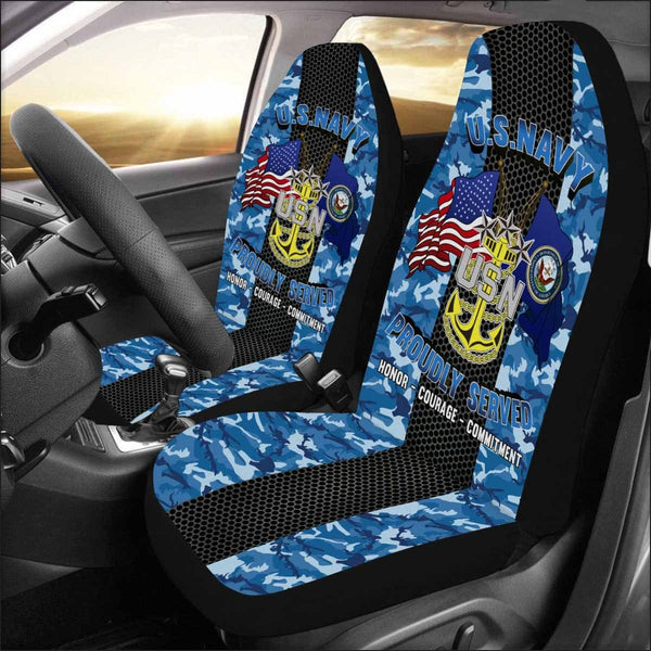 US Navy E-9 Master Chief Petty Officer Of The Navy E9 MCPON Senior Enlisted Advisor Collar Device Car Seat Covers (Set of 2)