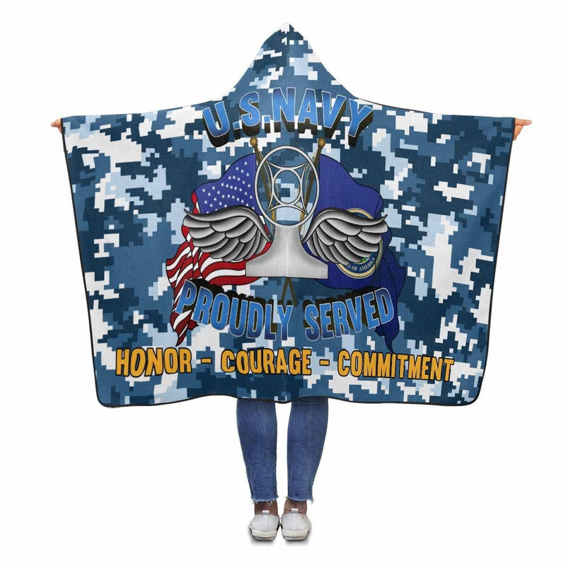 Navy Air Traffic Controller Navy AC Proudly Served Hooded Blanket