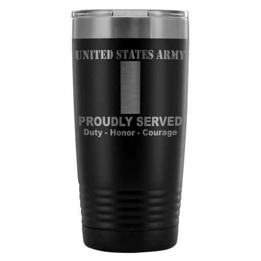 US Army O-2 First Lieutenant O2 1LT Commissioned Officer Proudly Served - 20 Oz Ounce Vacuum Tumbler