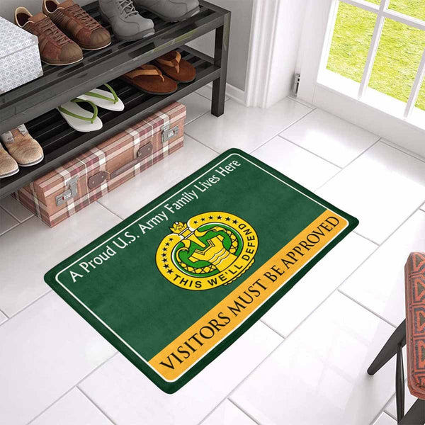 US Army Drill Sergeant Family Doormat - Visitors must be approved Doormat (23.6 inches x 15.7 inches)