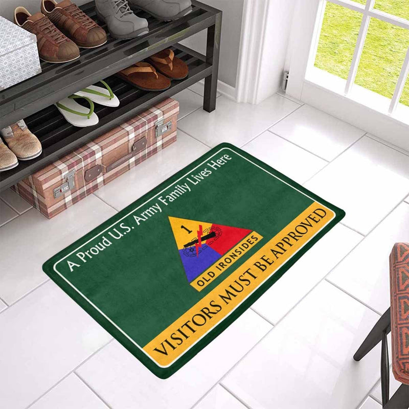 US Army 1st Armored Division Family Doormat - Visitors must be approved Doormat (23.6 inches x 15.7 inches)
