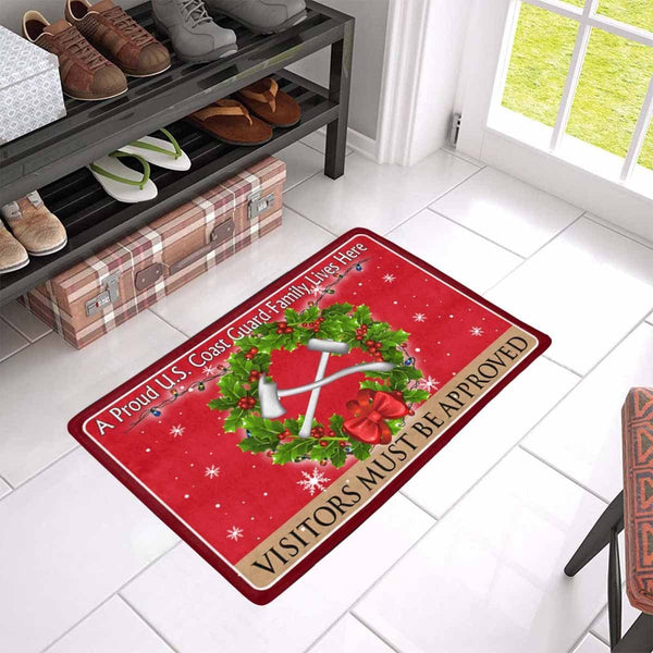 US Coast Guard Damage Controlman DC Logo - Visitors must be approved Christmas Doormat