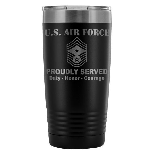 US Air Force E-9 Command Chief Master Sergeant CCM E9 Noncommissioned Officer Proudly Served - 20 Oz Ounce Vacuum Tumbler