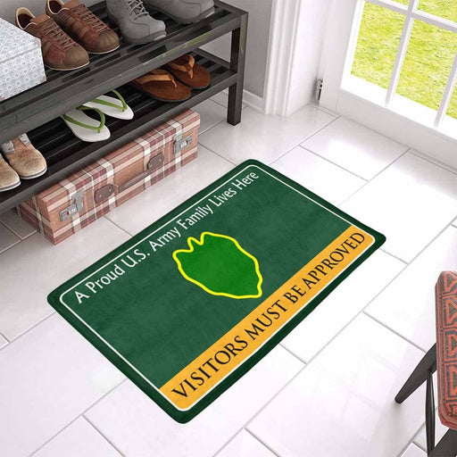 US Army 24th Infantry Division Family Doormat - Visitors must be approved Doormat (23.6 inches x 15.7 inches)