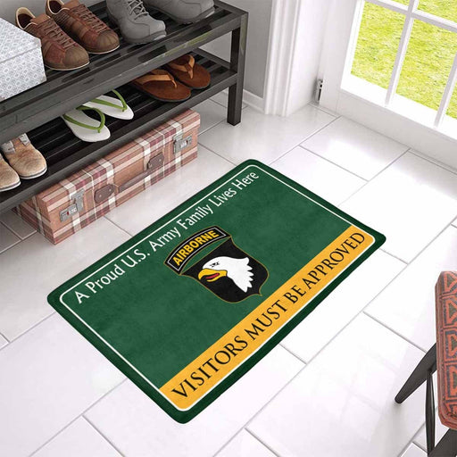 US Army 101st Airborne Division Family Doormat - Visitors must be approved Doormat (23.6 inches x 15.7 inches)