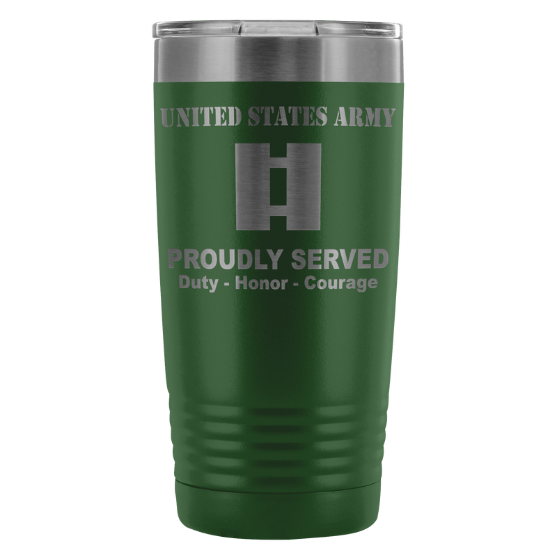 US Army O-3 Captain O3 CPT Commissioned Officer Proudly Served - 20 Oz Ounce Vacuum Tumbler