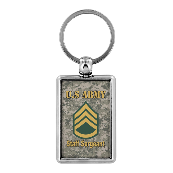 US Army E-6 Staff Sergeant E6 SSG Noncommissioned Officer Enlisted Veteran Retired Keychain