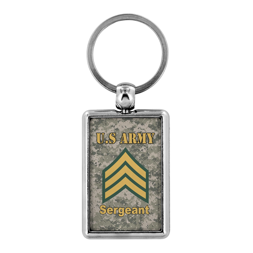 US Army E-5 Sergeant E5 SGT Noncommissioned Officer Enlisted Veteran Retired Keychain