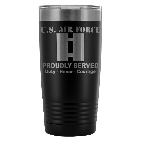 US Air Force O-3 Captain Capt O3 Commissioned Officer Proudly Served - 20 Oz Ounce Vacuum Tumbler