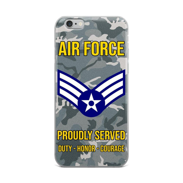 US Air Force E-4 Senior Airman SrA E4 Enlisted Airman Ranks AF Rank iPhone Case