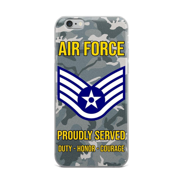US Air Force E-5 Staff Sergeant SSgt E5 Noncommissioned Officer Ranks AF Rank iPhone Case
