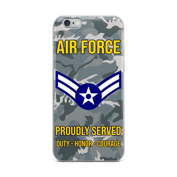 US Air Force E-3 Airman First Class A1C E3 Ranks Enlisted Airman AF Rank iPhone Case