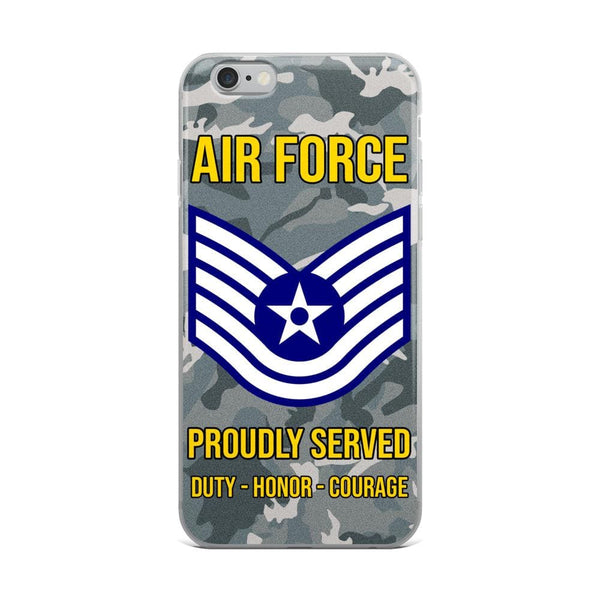 US Air Force E-6 Technical Sergeant TSgt E6 Noncommissioned Officer Ranks AF Rank iPhone Case